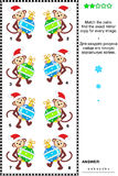 Visual riddle with christmas monkeys and baubles Royalty Free Stock Photos