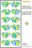 Visual riddle with diamonds. IQ training abstract visual puzzle with colorful jewel images: Match the pairs - find the exact mirrored copy for every picture Royalty Free Stock Image