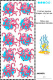 Visual riddle - find identical octopuses. Sea life themed visual puzzle: Find two identical octopuses. Answer included Royalty Free Stock Photos