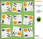 Visual riddle - find two identical cards with Halloween holiday symbols Stock Images