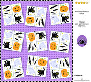 Visual riddle - find two identical cards with Halloween holiday symbols. Visual logic puzzle Halloween holiday themed: Find the two identical cards. Suitable Stock Image