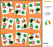 Visual riddle - find two identical cards with St. Patrick`s Day symbols Stock Images