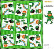 Visual riddle - find two identical cards with St. Patrick`s Day symbols. Visual logic puzzle St. Patrick`s Day themed: Find the two identical cards. Suitable Stock Photography