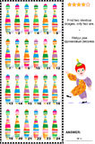 Visual riddle - find two identical images of colorful wooden pins. Visual puzzle: Find two identical pictures of colorful skittles. Answer included Royalty Free Stock Images