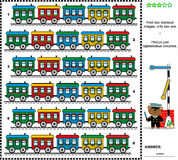 Visual riddle - find two identical trains Stock Images