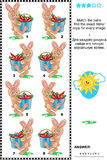 Visual riddle with mirrored pictures - bunnies and carrots. Visual logic puzzle: Match the pairs - find the exact mirror copy for every image of  bunnies Stock Photography