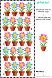 Visual riddle with rows of potted flowers. Visual puzzle with potted flowers: Which row have no mirrored copy? Answer included Royalty Free Stock Images