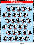 Visual riddle with rows of skating penguins Stock Images