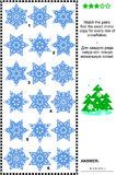 Visual riddle with rows of snowflakes. Christmas, winter or New Year visual puzzle: Match the pairs - find the exact mirror copy for every row of the snowflakes Royalty Free Stock Photo
