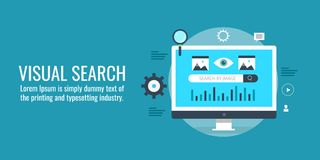 Visual search, digital search, find data, information, research, optimization concept. Flat design vector banner. Searching digital content on a computer with Royalty Free Stock Images