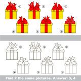 Visual simple game. Find hidden couple of Gifts. The design difference. Vector visual game for children. The easy level. Task and answer. Find two similar Gifts Royalty Free Stock Photo