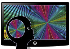 Visual Stimulation flooding the Brain. Watching television or computer games affect the brain development of kids Stock Photo