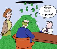Visual support. A woman executive pitching an idea with the promise of profits Stock Images