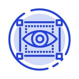 Visual, View, Sketching, Eye Blue Dotted Line Line Icon vector illustration