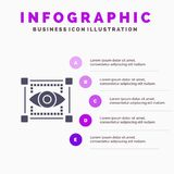 Visual, View, Sketching, Eye Infographics Presentation Template. 5 Steps Presentation vector illustration