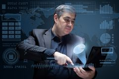 Visualisatie van gegevens die de technologie van de toekomst gebruiken Stock Afbeeldingen