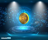 Visualisation abstraite de technologie de Bitcoin illustration stock