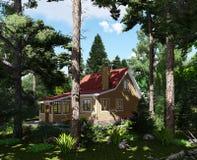 visualisation 3d Chambre dans la forêt illustration de vecteur