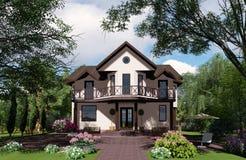 visualisation 3d Cottage à une nuance légère des arbres illustration de vecteur