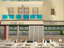 visualisation 3D d'une conception intérieure de bar à sushis illustration stock