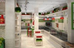 visualisation 3d de magasin de nourriture L'intérieur dans le style de la Provence illustration libre de droits