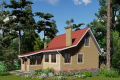 visualisation 3d Petite maison en harmonie de forêt illustration libre de droits