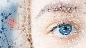 Visualisation human eye scanning biometric data. Medicine science vision, science fiction future stock photo