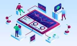 Visualisation teamwork banner, isometric style stock illustration
