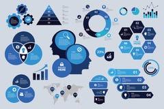 Visualização azul ajustado da carta de elementos da seta do gráfico de negócio do esquema de cores de Infographic ilustração stock