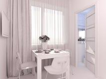 visualização 3D da cozinha do design de interiores em um apartamento de estúdio Imagem de Stock Royalty Free