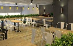 visualização 3d da despensa com um café para dentro Interior público no estilo do sótão ilustração royalty free
