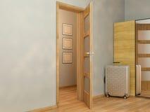 visualização 3D do design de interiores que vive em um apartamento de estúdio Imagens de Stock Royalty Free