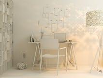 visualização 3D do design de interiores que vive em um apartamento de estúdio Fotos de Stock