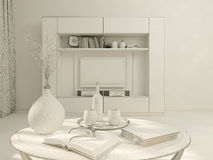visualização 3D do design de interiores que vive em um apartamento de estúdio Fotografia de Stock