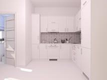 visualização 3D do design de interiores que vive em um apartamento de estúdio Foto de Stock