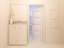 visualização 3D do salão do design de interiores em um apartamento de estúdio Fotografia de Stock Royalty Free