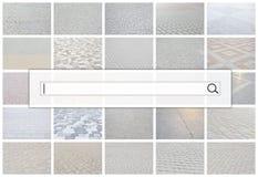 Visualização da barra da busca no fundo de uma colagem o fotos de stock