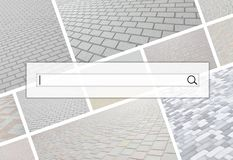 Visualização da barra da busca no fundo de uma colagem o fotografia de stock royalty free