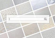 Visualização da barra da busca no fundo de uma colagem o imagem de stock