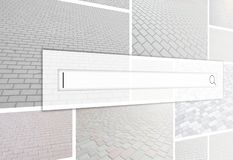 Visualização da barra da busca no fundo de uma colagem o imagens de stock