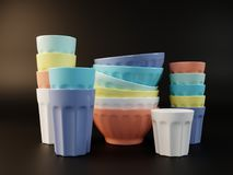 Visualização de um grupo de ilustração colorida dos pratos 3D Foto de Stock Royalty Free