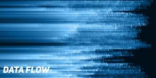 Visualização grande abstrato dos dados do vetor Fluxo azul dos dados como cordas dos números Representação do código da informaçã ilustração royalty free