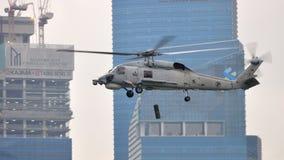 Visualización aérea del helicóptero naval de Skyhawk en NDP Imagen de archivo libre de regalías