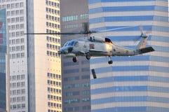 Visualización aérea del helicóptero naval de Skyhawk en NDP Fotos de archivo libres de regalías