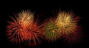 Visualización colorida del fuego artificial Fotografía de archivo