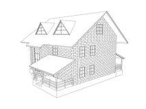 visualización 3d de la cabaña Dibujo lineal Fotografía de archivo libre de regalías