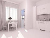 visualización 3D de la cocina del diseño interior en un apartamento-estudio Fotografía de archivo libre de regalías