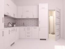 visualización 3D de la cocina del diseño interior en un apartamento-estudio Imagen de archivo libre de regalías
