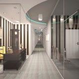 visualización 3D de un diseño interior de la oficina Foto de archivo