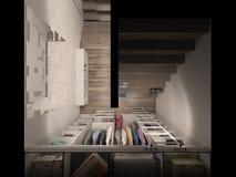 visualización 3D del cuarto del guardarropa en tonos ligeros Foto de archivo libre de regalías